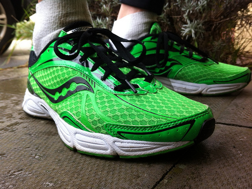 Green Saucony shoes