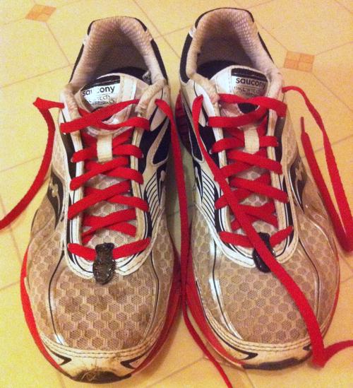 Worn running shoes
