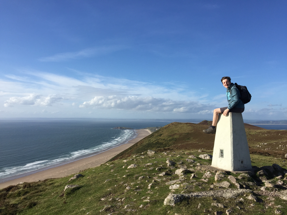 Jack on the Rhossili Down trig point